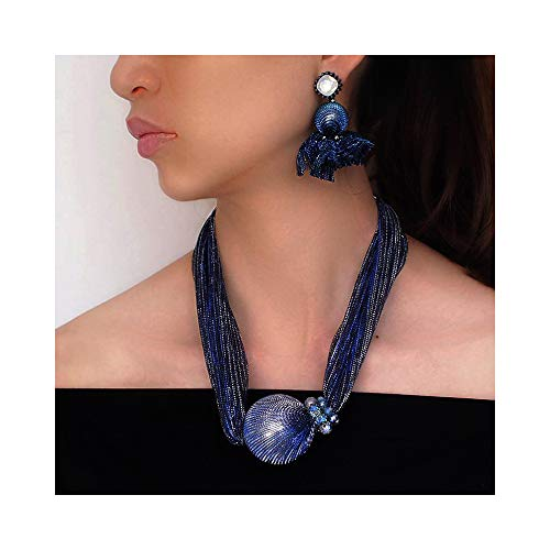 Pearl Choker Statement Necklaces (Blue Silk Pearl Bead Chunky Choker)