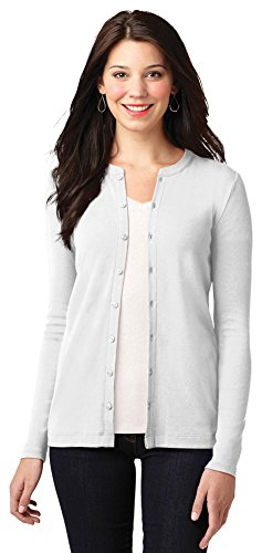 - Port Authority Ladies Concept Stretch Button-Front Cardigan, White, X-Large