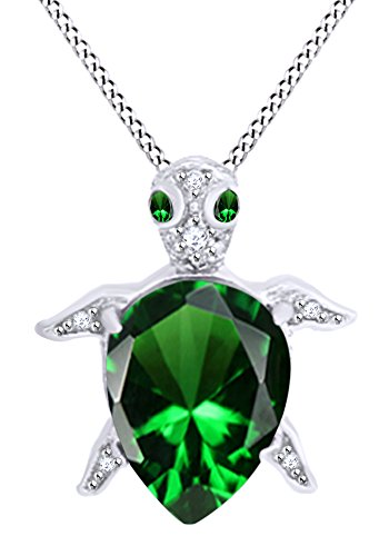 AFFY Pear Shape Simulated Emerald & White Cubic Zirconia Turtle Pendant in 14k White Gold Over Sterling - Gold White 14k Turtle