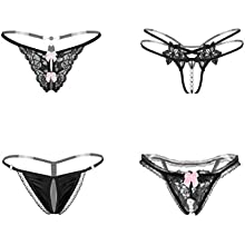 Nightease Women/'s Hollowed Lace Thong Knickers Stretch Lingerie G-String Panties Underwear with Bow-Knot