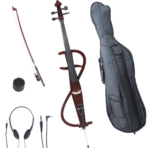 Cecilio 4/4 CECO-3DW Mahogany Metallic Electric Cello with Ebony Fittings in Style 3 (Full Size) by Cecilio