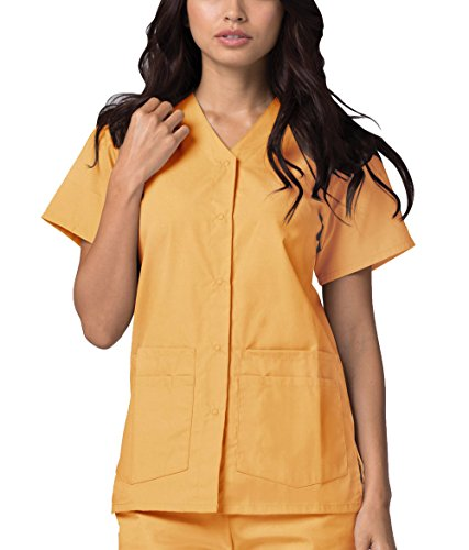 Adar Universal Double Pocket Snap Front Top (Available in 39 colors) - 604 - Honey - XS