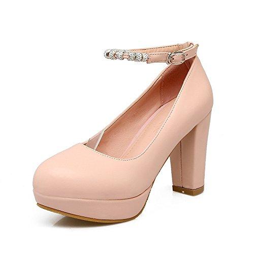 Pompe scarpe Fbudd011625 Solide Rosa Punta Rotonda Chiusa tacchi Allhqfashion Fibbia Alti Delle Donne 8wz7gqx