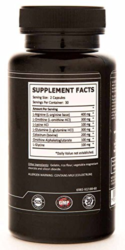 Muscle Growth Enhancer USA Made Custom Amino Formula 400 mg of Arginine per Serving GMP Certified 60 Capsules PARENT