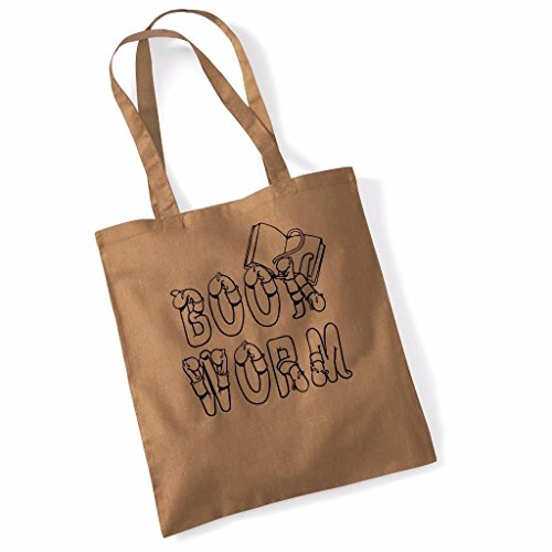 Book Worm Funny Mothers Day Birthday Beech Tote Bag - Caramel Caramel fpQ1NRJMD