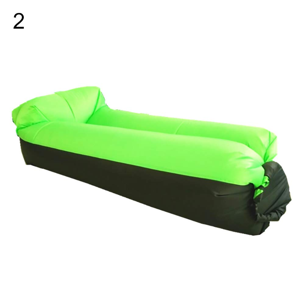 bDSof0u89yw Portable Outdoor Camping Picnic Beach Inflatable Air Sofa Lazy Bed Lounger Chair Comfortable Air Sofa Blow Up Lounge Sofa Carrying Bag Black+Green