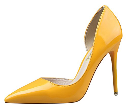 T&Mates Womens Dressy Versatile D'Orsay Stiletto High Heels Closed Pointed Toe Pumps Shoes (8 B(M) US,Yellow)
