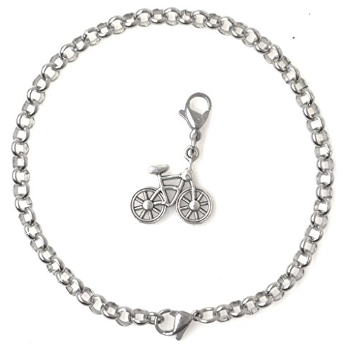 """Price comparison product image 2 PC SET: Adjustable 8.5"""" Stainless Steel Starter Charm Bracelet and Clip on Charm Bicycle 2PB 41R"""