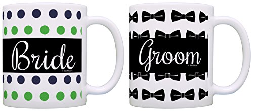 Wedding Gift Bride Groom Bowtie Bridal Shower Bundle 2 Pack Gift Coffee Mugs Tea Cups Polka ()