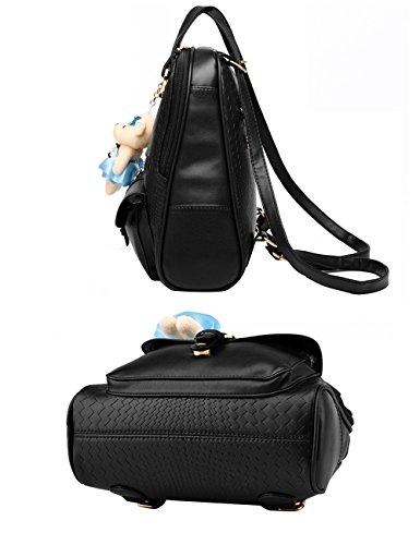 CUKKE Damen Einfargroß Einfache Stil PU Leder Casual Tasche Schulbeutel Reise Rucksack Sky-Blau Schwarz HdMVbb3Ym