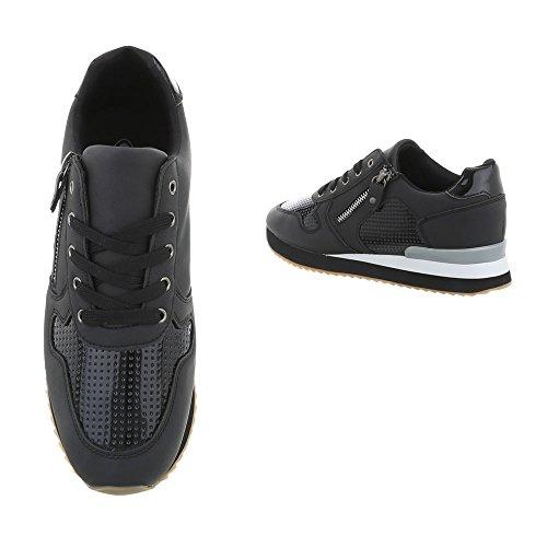 para Zapatillas Negro Zapatillas mujer Zapatos Design G Low Ital Plano 86 1 pw1dxTq