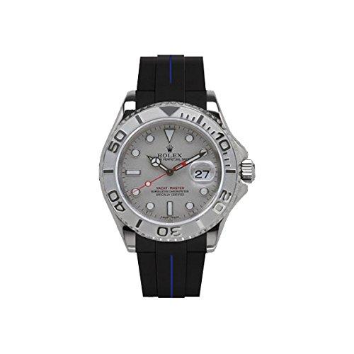 [ラバービー] RubberB ラバーベルト ROLEX ヨットマスター(40mm)専用ラバーベルト(ROLEX純正バックルを使用)(ブラック×ブルー)※時計は付属しません(Watch is not included)[並行輸入品]  B01IZOJS3W