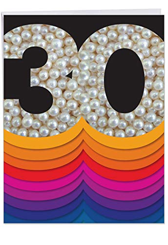 Bold Milestones 30th Birthday Card w/ Envelope Large 8.5 x 11 Inch - Happy Congrats and Celebration Greeting Card Stationery - Celebrate Bday in Shimmering Pearls and Bold Font - HBD Cards J6110AMBG