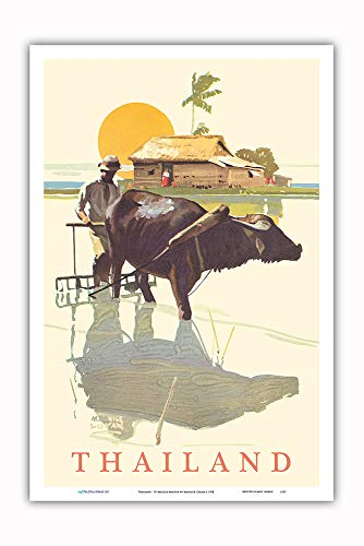 (Pacifica Island Art - Thailand - SS Malolo Menu Cover - Matson Navigation Company - Vintage World Travel Poster by Maurice Logan c.1928 - Master Art Print - 12 x 18in)