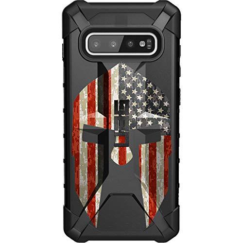 (Spartan Helmet, USA Flag Limited Edition Custom Laser-Printed Design by Ego Tactical on a Urban Armor Gear - UAG Case for Samsung Galaxy S10+)