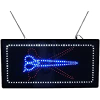 LED Scissor Sign, Super Bright LED Barber Shop Open Sign Store Sign Business Sign Electronic Advertising Billboard Flashing Window Display Sign (27 x 15 inches)