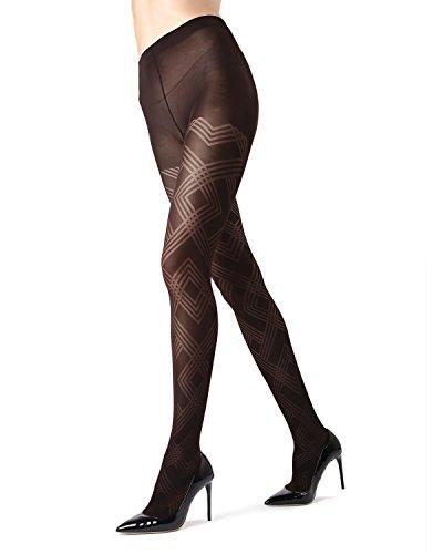 MeMoi Geometric Pattern Tights | MeMoi Women's Tights - Hosiery - Pantyhose Black MO 331 Small/Medium