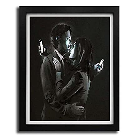 Mobile phone embrace banksy poster print picture framed art black white frame a4 a3 a2 small