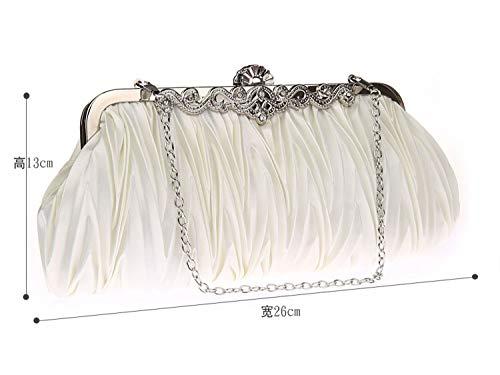 Clutch P Bag Satin Wedding Evening Chain Pleated With Elegant Strap Women's Wavy Bridal Prom qtfFnWqz