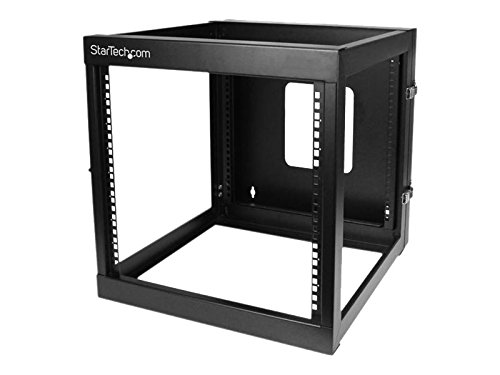 StarTech.com 12U 22-Inch Hinged Open Frame Rack Cabinet Wallmount Server Rack Components RK1219WALLOH, Black