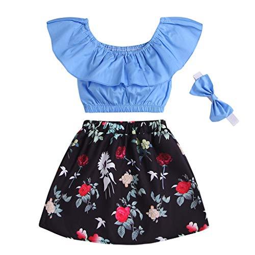 (Rakkiss Girls Solid Outfits Set Ruffles Vest Floral Print Tops Shorts Shirt Hair Band Jumpsuit Romper Sky)