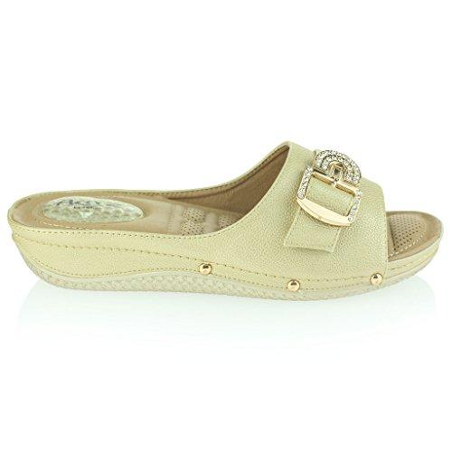 Mujer Señoras Puntos de Presión Amortiguado Respirable Suave Flexible Antideslizante Único Masaje Casual Ponerse Tacón de Cuña Sandalias Zapatos Talla Oro