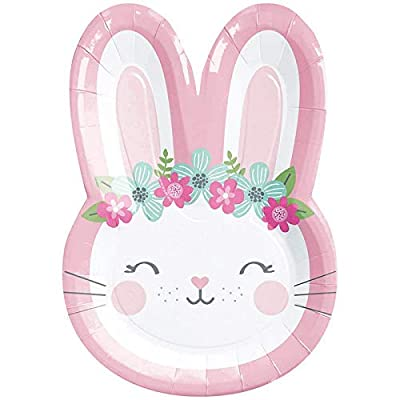"Creative Converting Party Supplies, Bunny Party Shaped Paper Plates, Plate Dinner, Multicolor, 9"", 8Ct: Toys & Games"