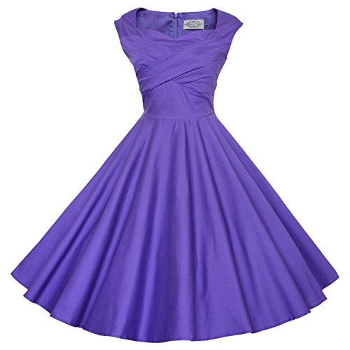 Maggie Tang 50s 60s Vintage Retro Swing Rockabilly Picnic Party Dress Purple L