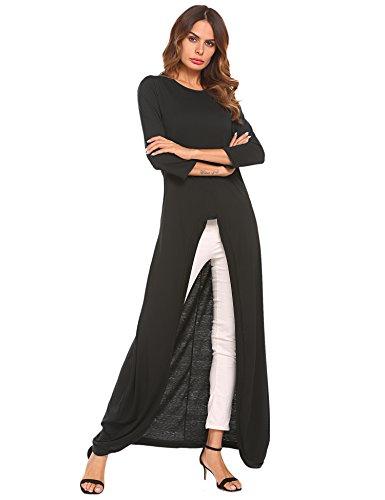 Tunic Asymetrical (Qearal Womens Scoop Neck Loose Blouse 3/4 Sleeve Maxi Asymmetrical Tunic Tops Full Length Black S)