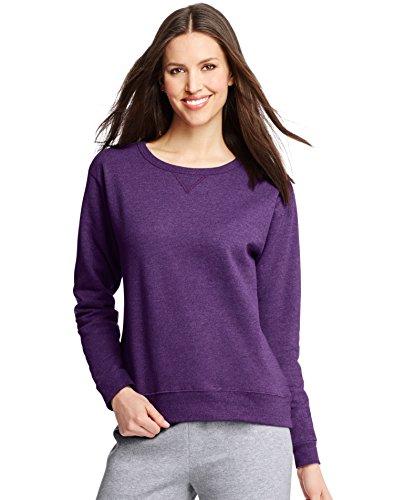 (Hanes ComfortSoft EcoSmart Women's Crewneck Sweatshirt_Violet Splendor HTR_XL)