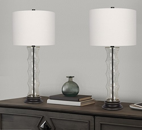 Grandview Gallery 29'' Desert Glass Lamp Set ft. Textured Glass Embedded with Gold Sand, Oil-Rubbed Bronze Details, and Off-White Linen Drum Shades - Perfect for Nightstands and End Tables (Set of 2) by Grandview Gallery (Image #2)