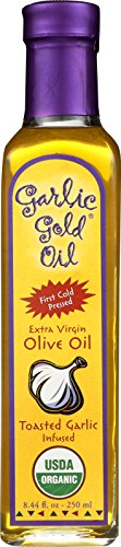 USDA Certified Organic Extra Virgin Olive Oil Infused with Garlic, Low FODMAP, Garlic Gold (8.44 fl oz) (Olive Oil Infused)
