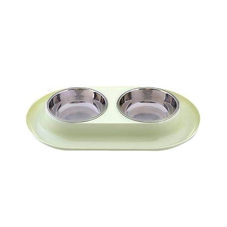 Comedero Perros con Doble Cuenco de Acero Inoxidable y Base Antideslizante de Silicona con Sistema de prevención de derrames, para Mascotas, Perros, ...