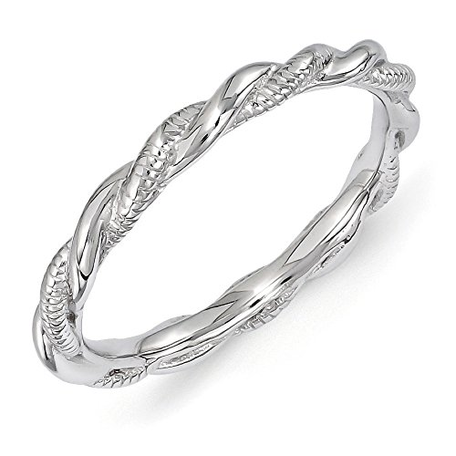 2.5mm Rhodium Plated Sterling Silver Stackable Twisted Band Size 6 by Stackable Expressions
