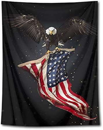 HVEST American Flag with Bald Eagle Tapestry Stars and Stripes Flag Tapestry Wall Hanging Haliaeetus leucocephalus American Culture Wall Art Backdrop for Bedroom Home Dorm Decor 70.9Wx92.5H inches