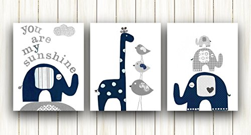 Nursery wall decor Kids Room Decor - Baby Nursery Art playroom - Set of three prints - Elephant Giraffe Birds navy blue gray You are my sunshine Quote Baby Boy Wall Decor