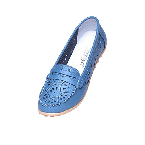 YAANCUN Mujeres Hueco Zapatos De Cuero De Suave Ocio Pisos Mocasines Casuales Como la imagen 2