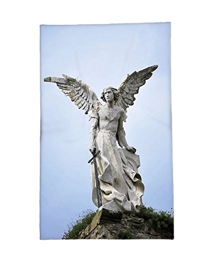 Interestlee Fleece Throw Blanket Sculptures Decor Collection Sculpture of a Guardian Angel with Sword in the Cemetery of Comillas Cantabria Spain Image Ivory by Interestlee