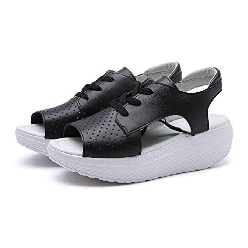 CYBLING Summer Low Platform Wedge Sandals for Women Outdoor Exercise Athletic Peep Toe Walking Shoes Black