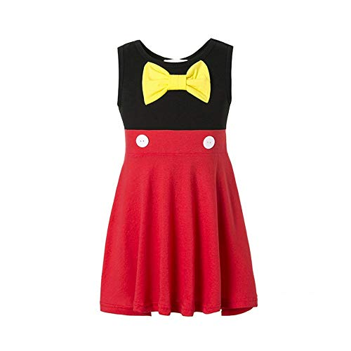 Girls Mickey Dress for Toddler Cotton Sleeveless Bow Red Dress Mickey Minnie Dresses (Black, 5-6T) -