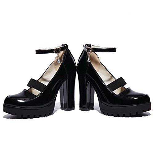 Allhqfashion Dames Pu Hoge Hakken Ronde Dichte Teen Solide Gesp Pumps-schoenen Zwart