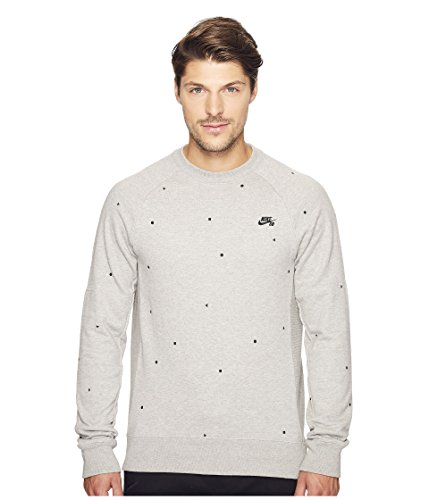 NIKE SB Everett Geometry Men's Crew Sweatshirt (Dark Grey Heather/Black, Medium)