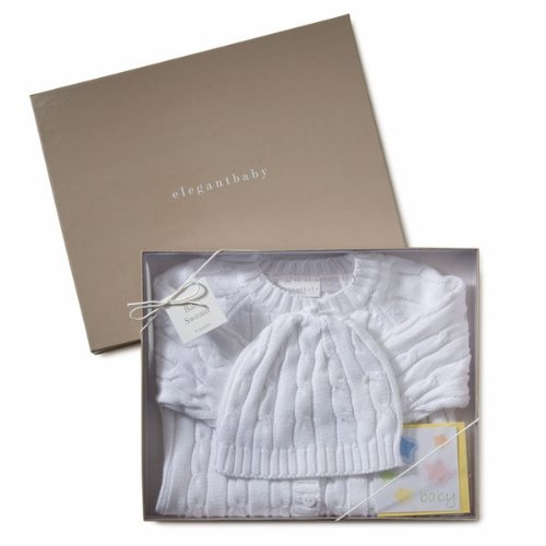 Cable Knit Sweater & Hat Boxed Set in White 12 Months