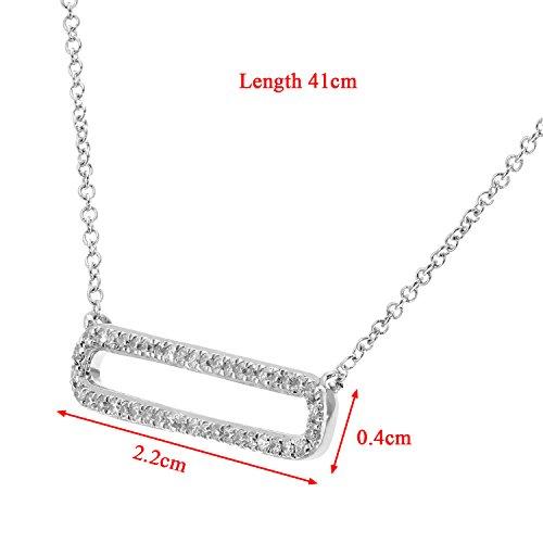Revoni Bague en or blanc 9carats-Collier avec pendentif Femme-Diamant, Rectangle Pendentif, 40,6cm