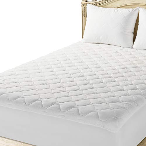 THE GRAND Fitted Quilted Mattress Pad Cover Hypoallergenic (Stretches to 18