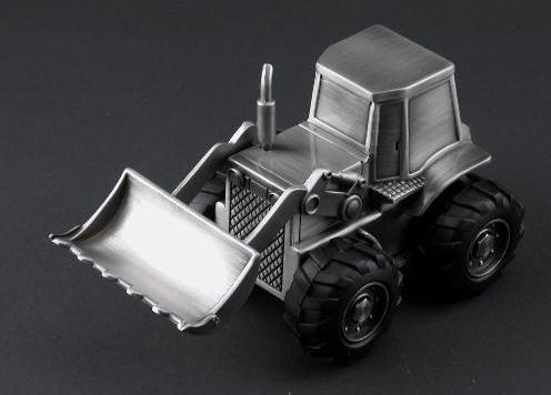 (Silver Tractor Front Loader Bank, Boys Bank )
