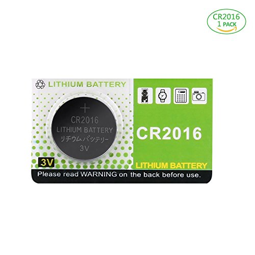 Aukor CR2016 3V Lithium Battery, 90mAh for Watch, LCD Writing Tablet and Car Remote Controls, 1-Pack ()