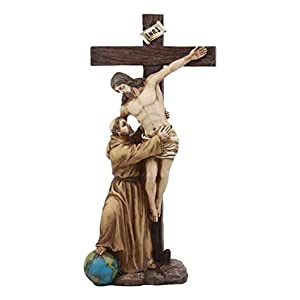 "Ebros Saint Francis With Christ Statue 12.5""Tall Inspirational Sculpture Of Saint Francis Of Assisi Removing Jesus Christ From The Cross Religious Symbolic Altar Decor"