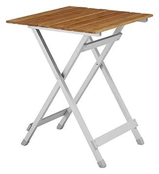 Petite Table Pliante de Camping – Résistante aux Intempéries et Inoxydable  – Table de Jardin Pliable en Aluminium et Bambou