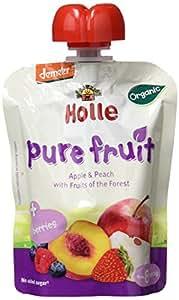 Holle Smoothie Manzana, Melocotón con Frutas del Bosque (+8 meses) - Paquete de 12 x 90 gr - Total: 1080 gr